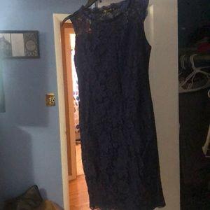 Lace overlay navy blue dress